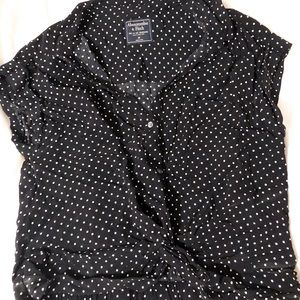 Black and white dotted blouse
